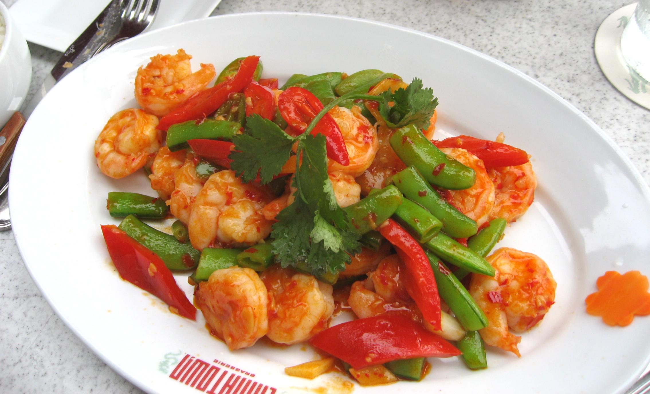 ... Kung Pao Shrimp. He said it was quite spicy and the shrimp looked good